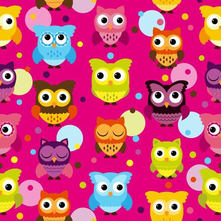 tile able: Senza soluzione di continuit� e mattonelle in grado Owl Background Pattern