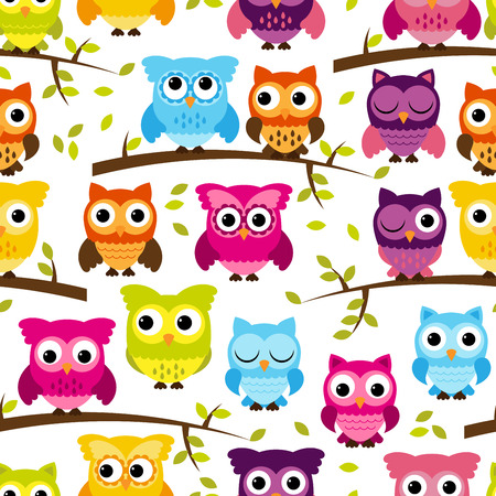 woods: Seamless and Tileable Owl Background Pattern