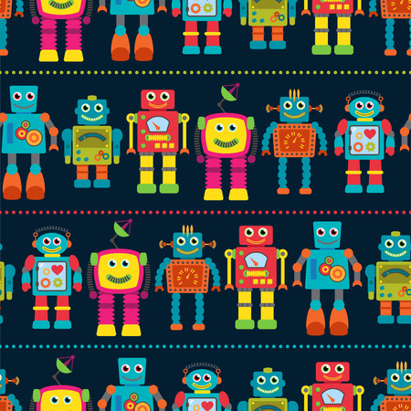 robot: Wzór bez szwu tileable tła z cute Robots Ilustracja