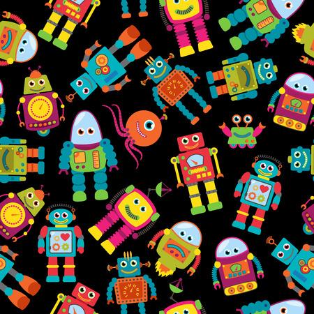 かわいいロボットとのシームレスなタイル背景パターン