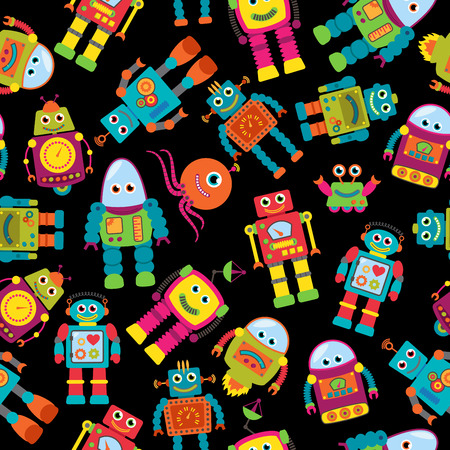 Seamless Tileable Background Pattern with Cute Robots Vector