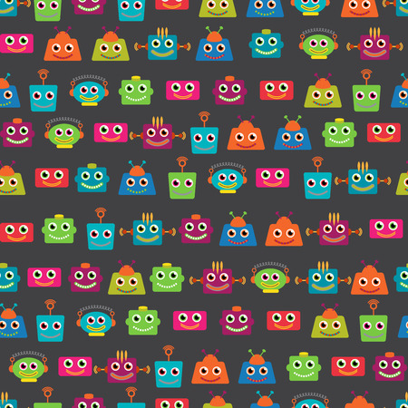 space invaders game: Seamless Tileable Background Pattern with Cute Robots