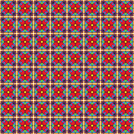 tile flooring: Seamless Vector Talavera Style Pattern and Background