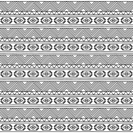 ethno: Black and White Doodle Style Seamless Tileable Tribal Pattern
