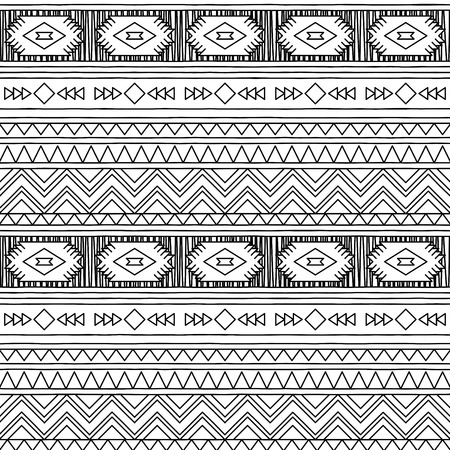 tileable: Black and White Doodle Style Seamless Tileable Tribal Pattern