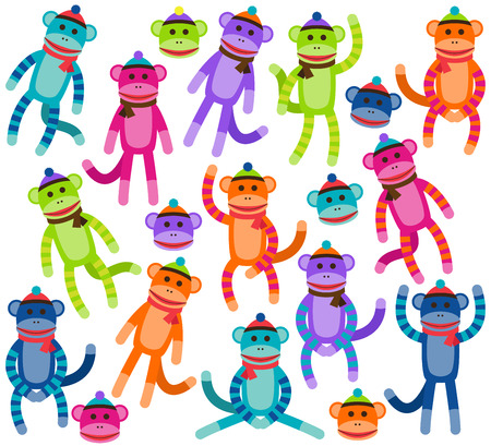 stuffed animals: Vector Collection of Cute and Colorful Sock Monkeys Illustration