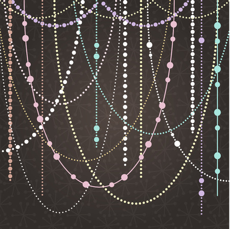 bead jewelry: Abstract Vector Background with Hanging Garlands and Lights Illustration