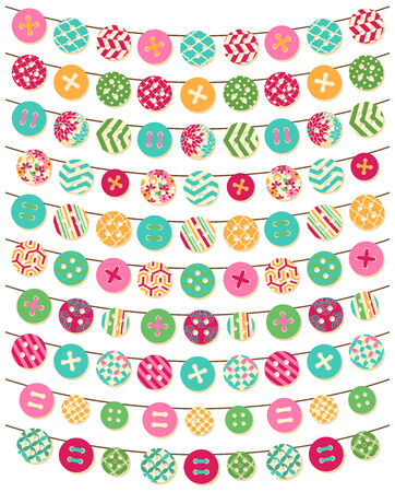 Vector Collection of Button Bunting in Bright Patterns Vector