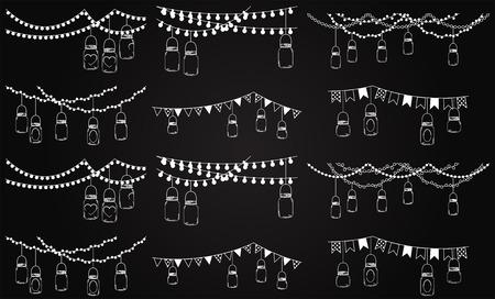 đám cưới: Vector Bộ sưu tập của Bảng đen Phong cách Mason Lights Jar Hình minh hoạ
