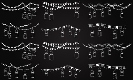 string lights: Vector Collection of Chalkboard Style Mason Jar Lights  Illustration