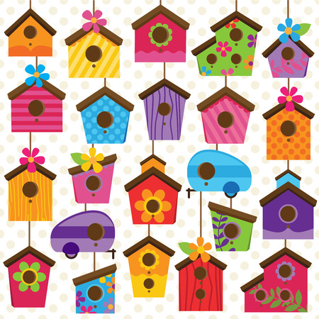 green cute: Vector Set of Cute and Colorful Bird Houses