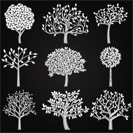 Vector Verzameling van Schoolbord Style Silhouetten van de boom