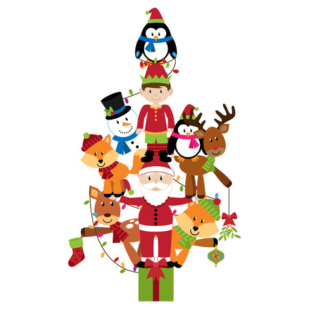 Vector Christmas Tree with Santa, Elf and Animals Vector