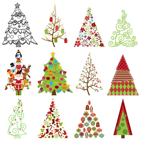 Vector Collection of Stylized Christmas Trees  Vector