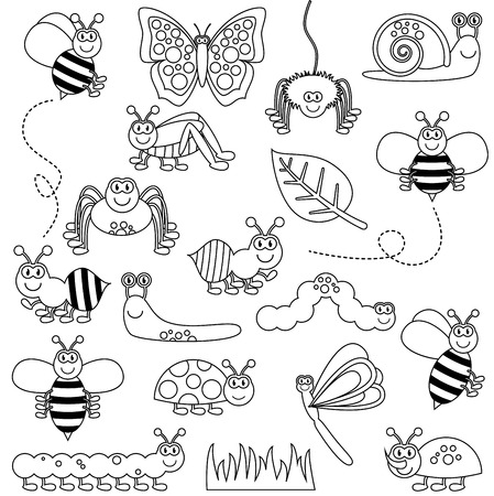 antenna dragonfly: Large Vector Set of Cute Cartoon Bugs Line Art Illustration