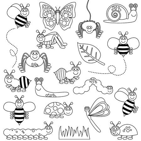 Large Vector Set of Cute Cartoon Bugs Line Art Illustration
