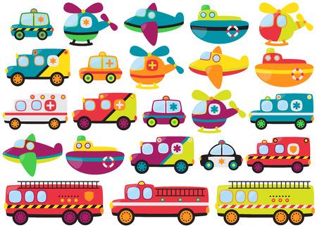 voiture de pompiers: Collection Vecteur de véhicules de sauvetage d'urgence style mignon ou rétro