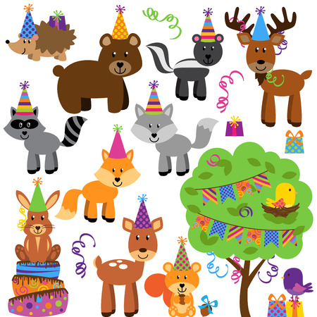 Vector Collection of Birthday Party Forest or Woodland Animals Vector