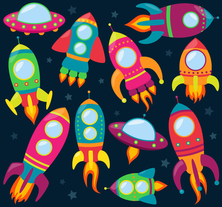 blast off: Vector Collection of Cartoon Rocketships