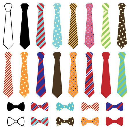 Set of Vector Ties and Bow Ties Ilustração