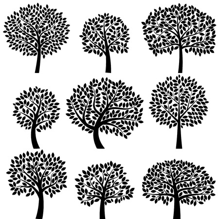 Colección de vectores de Siluetas del árbol
