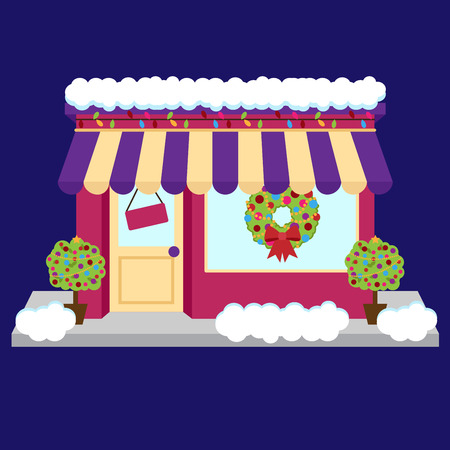 shop sign: Vector Snow Covered Shop or Business Decorated for Winter and Christmas