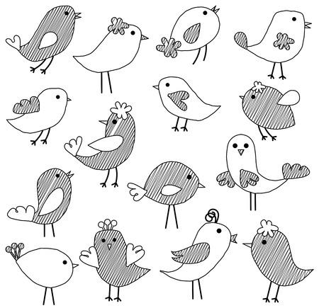 eccentric: Vector Set of Doodle Style Birds
