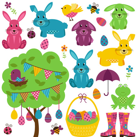 Vector Collection of Easter Bunnies with Tree, Eggs and Basket Vector