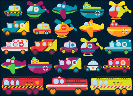 hazmat: Vector Collection of Cute or Retro Style Emergency Rescue Vehicles