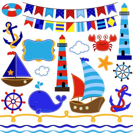 navios: Coleção do vetor de Marítimo e Sailing Themed Elements Ilustra��o