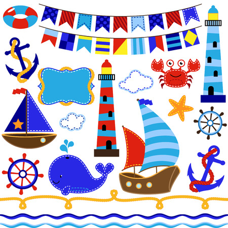 Vector Collection of Nautical and Sailing Themed Elements Vector