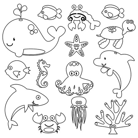 cartoon swimming: Vector Set of Cute Sea Creature Line Art