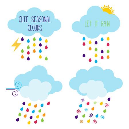 let it snow: Cute Seasonal Cloud Vector Icons