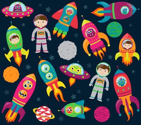 Vector Collection of Retro Style Rocketships and Spaceships with Aliens, Robots and Astronauts Stock Illustratie