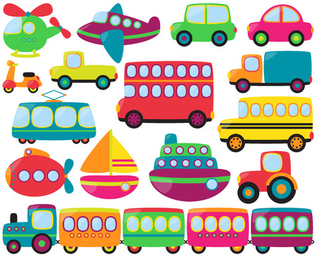 Large Vector Set of Cute Transportation Vehicles Vector