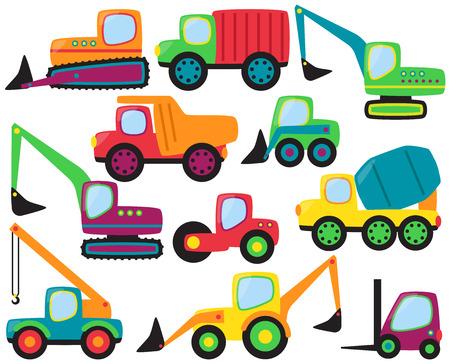 front loader: Vector Conjunto de Lindos vehículos de construcción y equipo pesado
