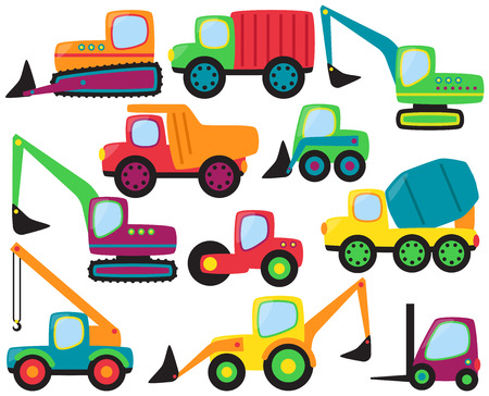 truck on highway: Vector Set of cute Construction Vehicles and Heavy Equipment Illustration