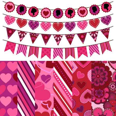 Valentine s Day Vector Backgrounds and Bunting