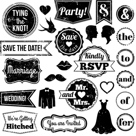 Vector Collection of Vintage Wedding Themed Badges and Stamps Vector