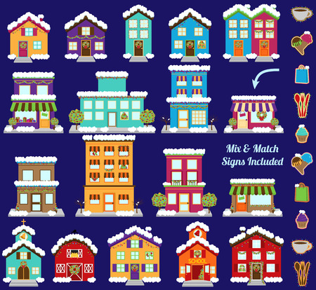 Collection of Vector Christmas or Winter City and Town Buildings with Mix and Match Signs Vector