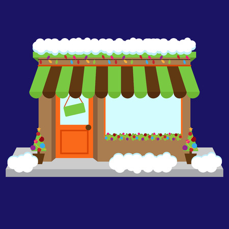 Vector Snow Covered Shop or Business Decorated for Winter and Christmas Vector