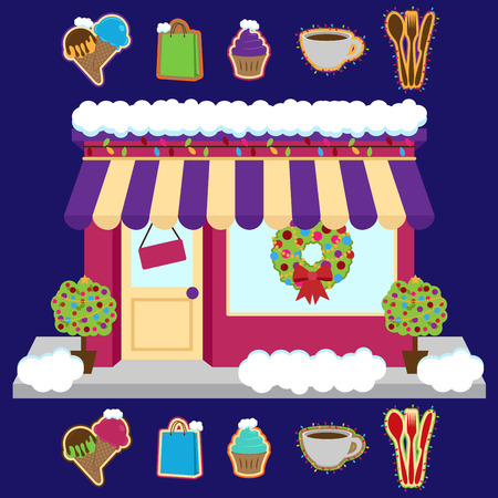 city lights: Vector Snow Covered Shop or Business Decorated for Winter and Christmas