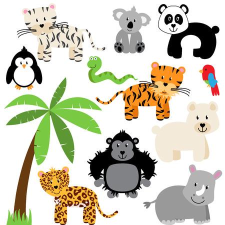 Vector colección de zoológico lindo, selva o animales silvestres