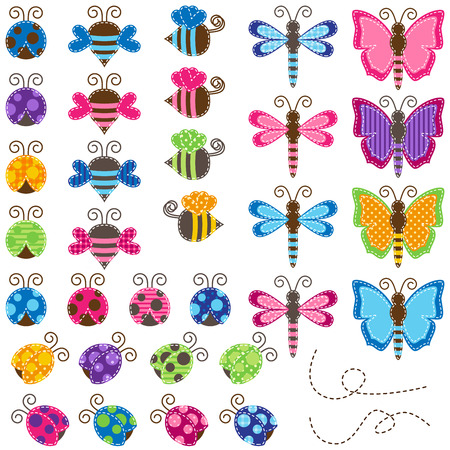 patchwork: Large Vector Collection of Patchwork and Baby Shower Themed Bugs