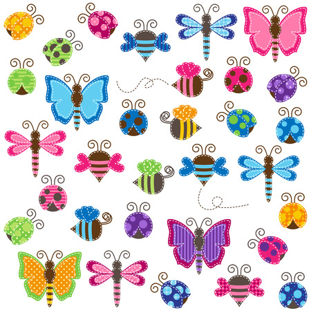 Large Vector Collection of Patchwork and Baby Shower Themed Bugs Vector