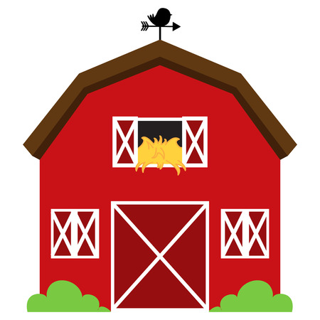rural houses: Cute Red Vector Barn with Hay, Weather Vane and Bushes