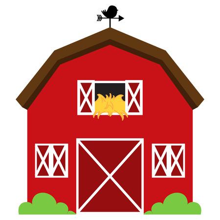 Vector Cute Red Barn con Hay, Banderuola e cespugli