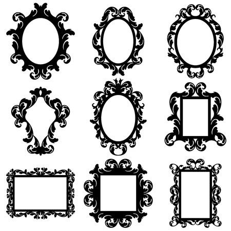 and antique: Vector conjunto de siluetas marco barroco Vectores