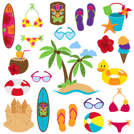 Vector Collection of Beach and Tropical Themed Images Stok Fotoğraf - 29965915