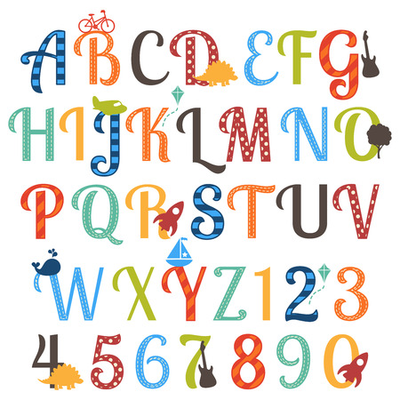 dinosaur cute: Cute Boy Themed Alphabet Vector Set